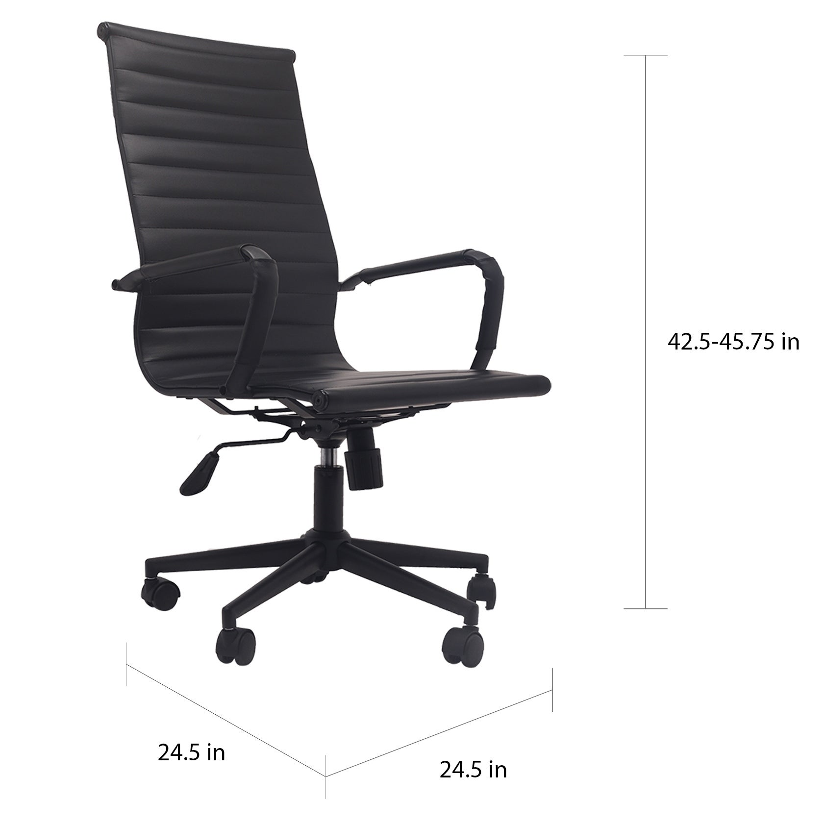 42xhome Designer High Back Leather Office Chair Ribbed PU Conference Room  Black Executive Boss Swivel with Arms Wheels Seat