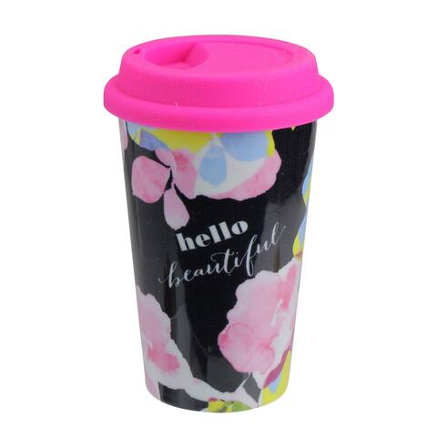 "12oz Double Insulated ""Hello Beautiful"" Ceramic Travel Mug with Pink Silicone Lid"