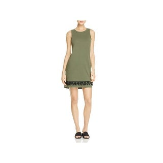 Current/Elliott Womens Juniors Tank Dress Pom Pom Hem Distressed Green 0