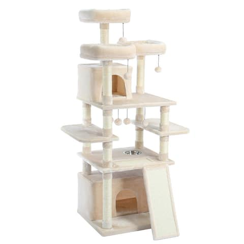 Multi-Level Cat Tree Tower for Large Cats with Perches &Dangling Balls