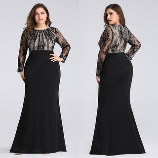 Ever-Pretty Women\'s Plus Size Lace Long Sleeve Mermaid Evening Prom Dress  07771 | Overstock.com Shopping - The Best Deals on Evening & Formal Dresses