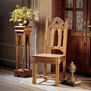 Design Toscano Sudbury Hand-Carved Solid Pine Gothic Side Chair
