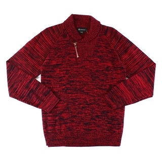 INC NEW Red Mens Size Large L 1/2 Zip Marled Knit Shawl-Collar Sweater