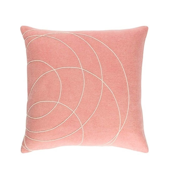 """22"""" Pink and Cream Woven Decorative Throw Pillow"""