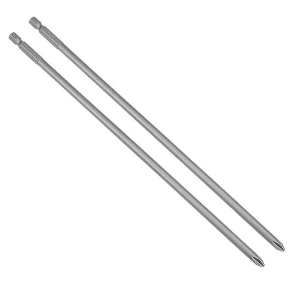 2 Pcs 1/4-Inch Hex Shank 250mm Length Phillips 6PH2 Magnetic S2 Screwdriver Bit - H1/4*250L*6*PH2 2pcs