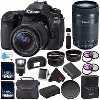 Canon EOS 80D DSLR Camera with 18-55mm Lens 1263C005 (International Version) + Canon EF-S 55-250mm Lens + 64GB SDXC Card Bundle