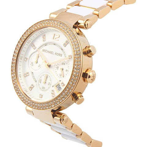 Michael Kors Women's Parker Rose Gold-Tone Watch MK5774 - white
