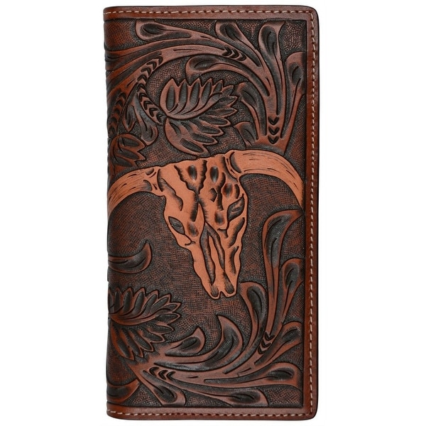 3D Western Wallet Mens Leather Rodeo Floral Steer Tan - One size