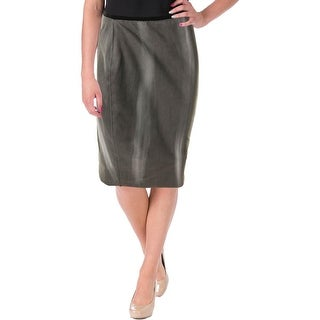 Elie Tahari Womens Violet Skirt Faux Suede Print Pencil Skirt - 8