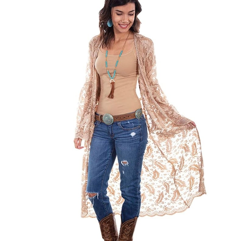 Scully Western Cardigan Womens Boho Lace Open Front Duster Taupe by  Discount