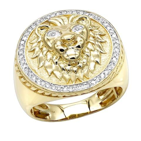 Luxurman Men's Solid 10k Gold Lion Head 1/3ct TDW Diamond Ring (H-I, SI1-SI2)