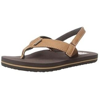 Reef Boys Grom Twinpin Faux Leather Flip-Flops - 4/5 medium (d)