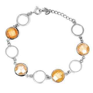 Yellow Cubic Zirconia Sterling Silver Round Link Bracelet by Orchid Jewelry