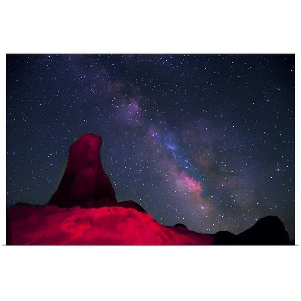 """""""Alabama Hills, rock tower painted with red light with stars and Milky way in sky"""" Poster Print"""