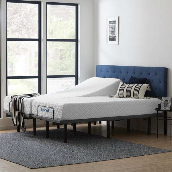 Lucid Comfort Collection 10-inch Gel Memory Foam Mattress and Deluxe Adjustable Bed Set. Opens flyout.