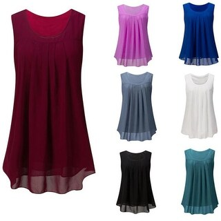 Sleeveless Chiffon Tank Top Double Layers Tunic