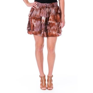 Elizabeth and James Womens Hillary Tiered Skirt Silk Printed