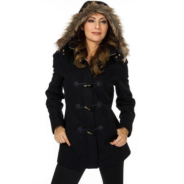 Alpine Swiss Duffy Womens Wool Coat Fur Trim Hooded Parka Jacket. Opens flyout.