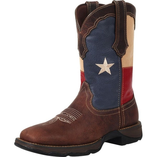 Durango Western Boots Womens Rebel Texas Flag Pull Square Brown