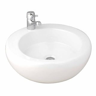 Bathroom Vessel Sink Round White Vitreous China Countertop