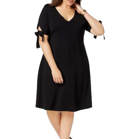 525 America Women's Sweater Dress Black Size 3X Plus A-Line Tie Sleeve