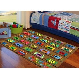 Trains 4x6 5x7 7x10 8x10 Feet Brown Boys Girls Kids Area Rug Carpet Washable Rubber Backing Letters