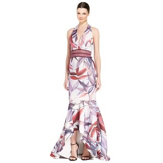 Badgley Mischka Floral Macrame Halter Silk Evening Gown Dress