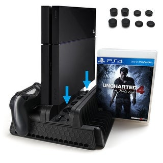 PS4 Vertical Stand with Cooling Fan Dual Controllers for PS4 PS4 Slim PS4 Pro Console