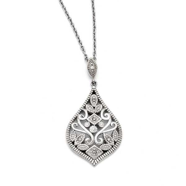 Chisel Stainless Steel CZ with 2in extension Necklace (1 mm) - 18 in