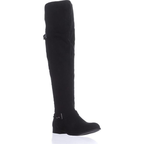 B35 Daphne Over The Knee Riding Boots, Black Micro - 7 us