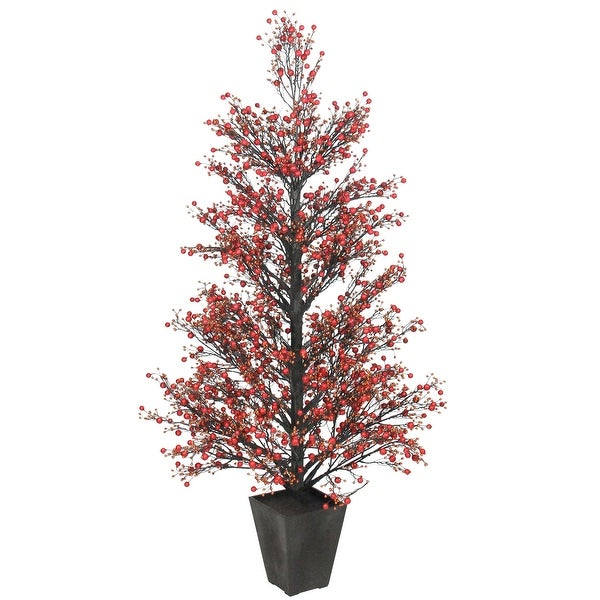 """51"""" Potted Red & Black Glittered Berry Christmas Topiary Tree #XBZ728-RE"""