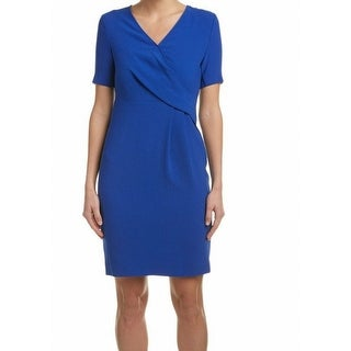 Elie Tahari NEW Blue Womens Size 10 Deandra Faux-Wrap Sheath Dress