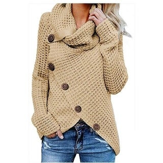 Link to Women's Sweater Chunky Button Turtle Cowl Neck Asymmetric Hem Wrap Pullover Sweater Similar Items in Women's Sweaters