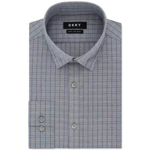 DKNY Mens Dress Shirt Gray Size XL Slim Fit Performance Active Stretch