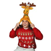 Pack of 6 Gold and Brown Plush Moose Christmas Hat Costume Accessories