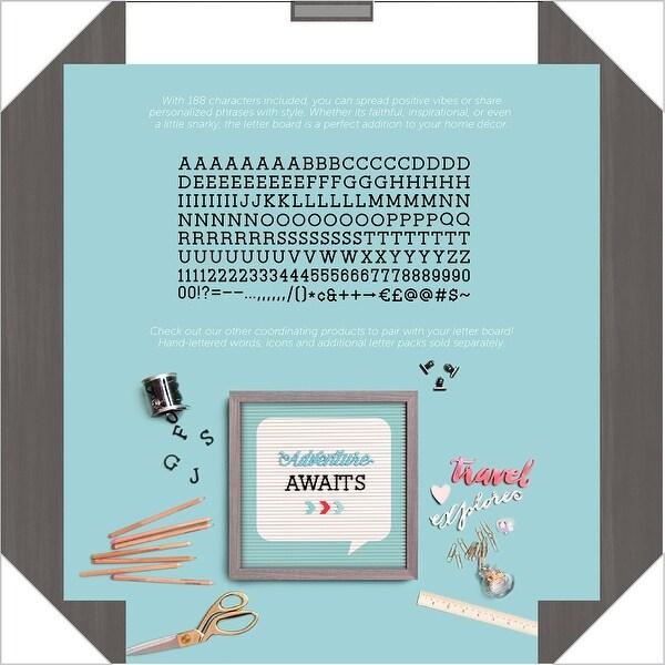 "Dcwv Framed Letterboard 12""X12""-Gray W/Teal & White Insert"