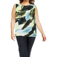 Vince Camuto Womens Blouse Watercolor Leaf Print