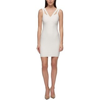 GUESS Studded Scuba Bodycon Dress White - 14