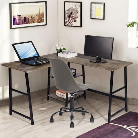 Carbon Loft Angband L-shaped Corner Computer Desk with Shelf