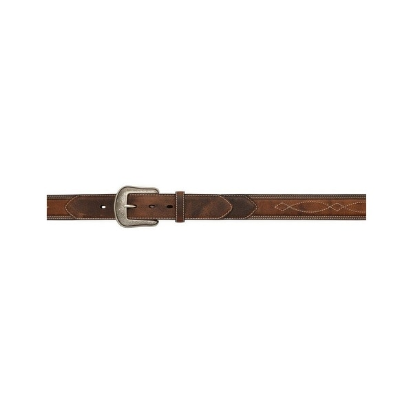 3D Belt Mens Western Leather Pebble Inlay Stitching Brown