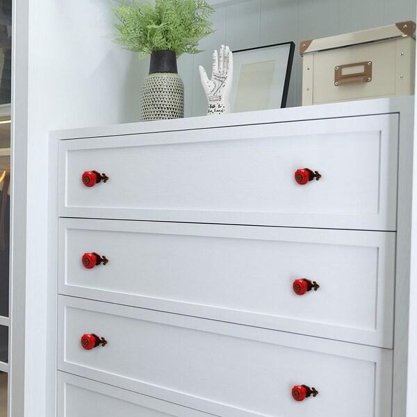Ceramic Vintage Knobs Drawer Pull Handle Cupboard Wardrobe Dresser Door Red