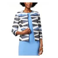 Kasper Womens Plus Open-Front Blazer Printed Business - 4P