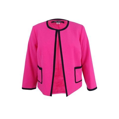 Nine West Women's Plus Size Framed Crepe Cardigan Jacket