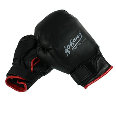 Pair Sponge Padded Black Faux Leather Mittens Adult Boxing Gloves