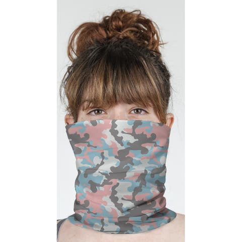 "CAMO FLOW PINK AND BLUE Neck Gaiter By Kavka Designs - 10"" x 18"""