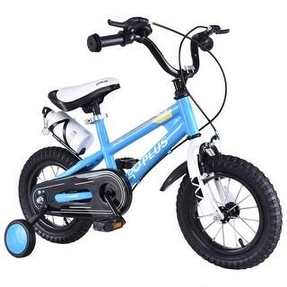 Goplus 12'' Freestyle Kids Bike Bicycle Children Boys & Girls w Training Wheels Blue