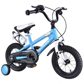 Goplus 20'' Freestyle Kids Bike Bicycle Children Boys & Girls w Training Wheels Blue