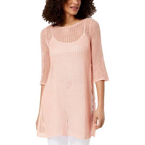Eileen Fisher Womens Tunic Top Organic Linen Knit - M