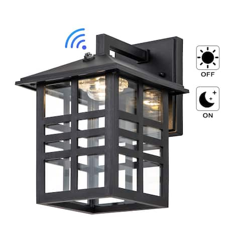 """1-Light Black LED Dusk to Dawn Outdoor Wall Lantern Sconce with Clear Glass Shade - W7""""xE8.5""""xH10.5"""""""