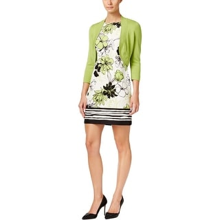 Jessica Howard Womens Petites Dress With Cardigan Floral Print Scoop Neck